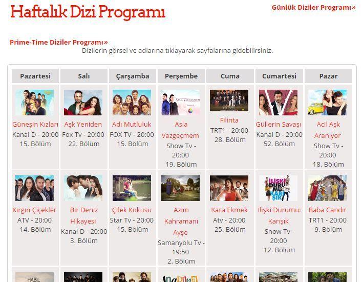 Haftalık Dizi Programı http://1001dizi.net/haftalik_dizi_programi #dizi