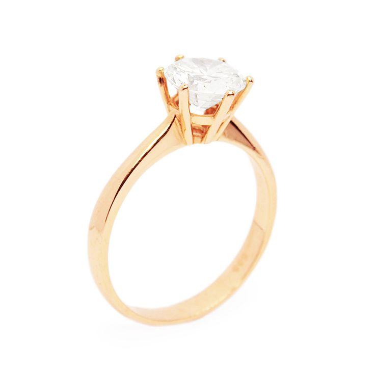 1,43 karátos gyémánt rosegold eljegyzési gyűrű - 1.43ct diamond set in rosegold