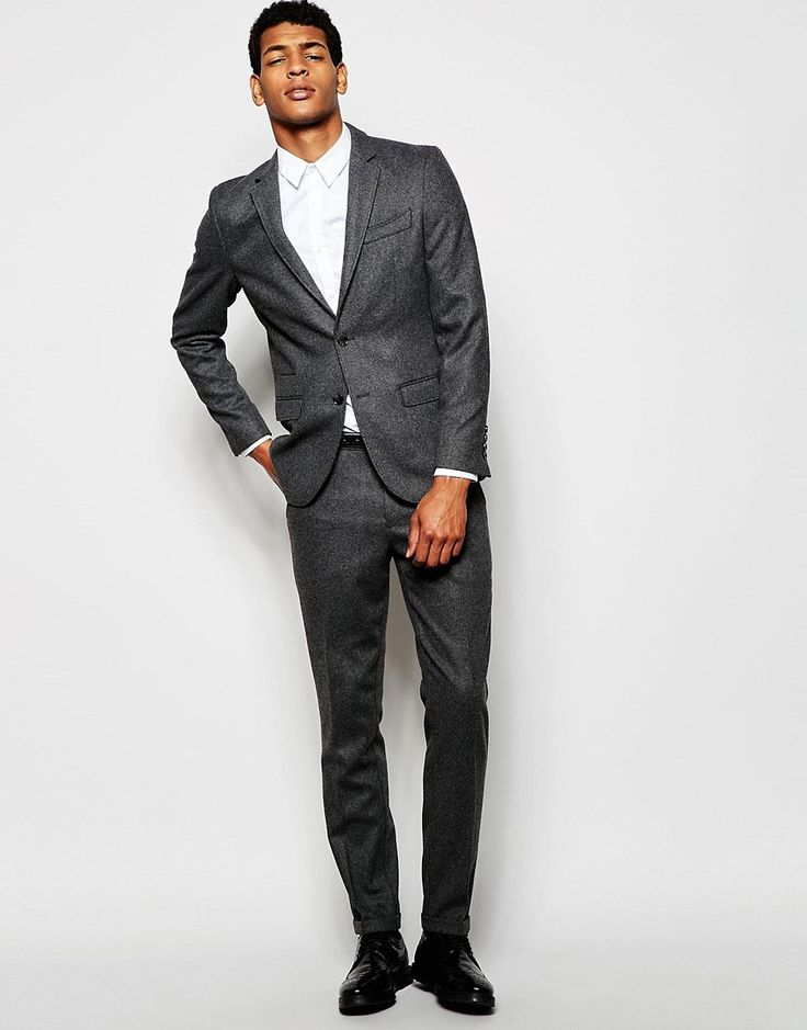 Selected Homme Flannel Wool Suit Jacket in Skinny Fit
