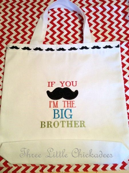 Little Man Big Brother Mustache Gift Bag  Kit  Tote  Sibling  Birth Announcement  Shower Gift