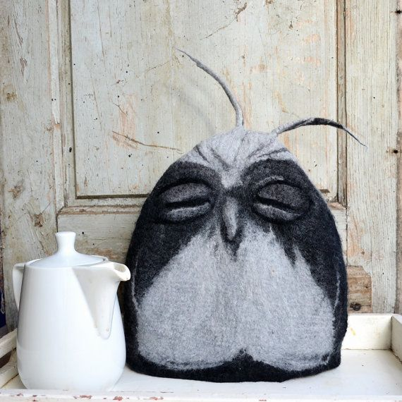 The wisest way to keep your tea pot warm.A unique felted tea Owl cosy it has been seamlessly felted (no sewing or knitting involved) from Merino wool
