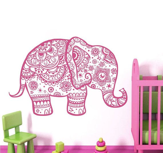 Wall Decal Elephant Vinyl Sticker Decals Home Decor Murals Indian Elephant Floral Pattern Mandala Tribal Buddha Ganesh Yoga Bedroom Dorm AL5