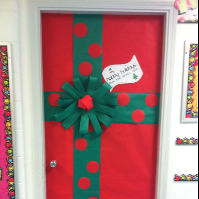 Mrs. Rector's Classroom Door decoration for christmas - present wrapping