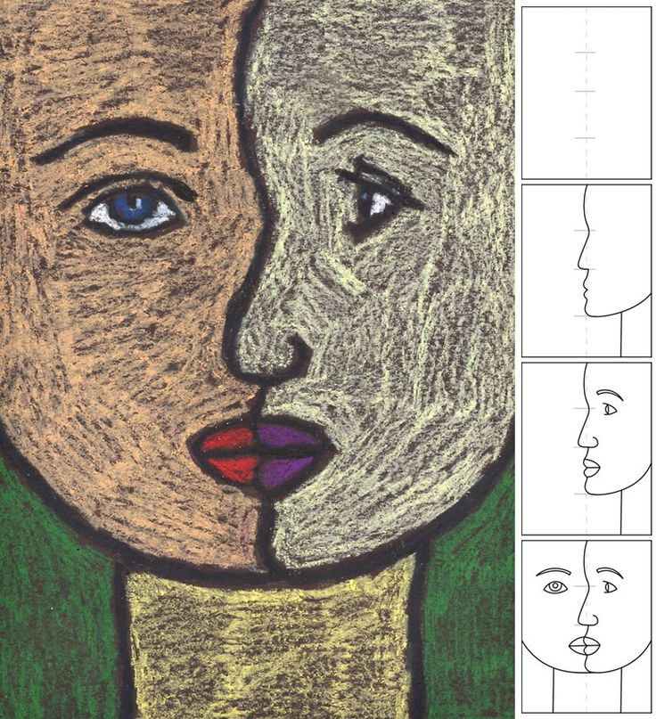 3rd grade - picasso portrait: Art Lessons, For Kids, Art Ideas, Schools Art, How To Drawings, Oil Pastel, 5Th Grade Art, Cubist Portraits, Art Projects