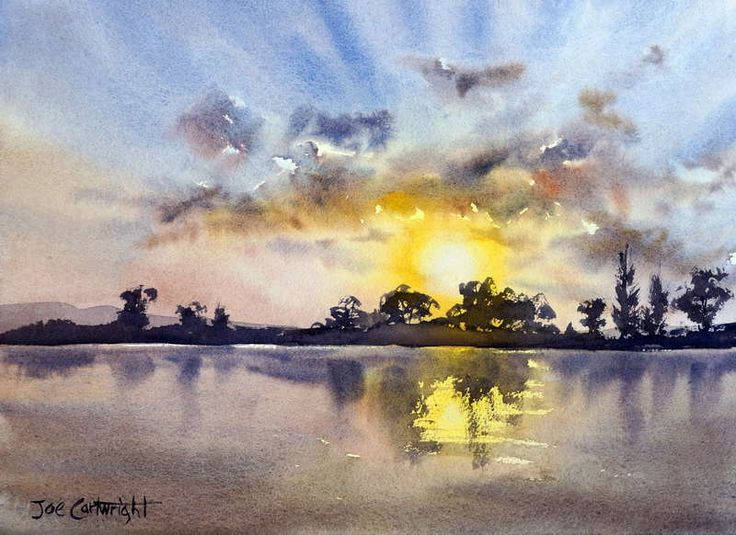 "Watercolor painting for sale. Titled "" Last Light, Maclean, NSW"" Price: AUD245"