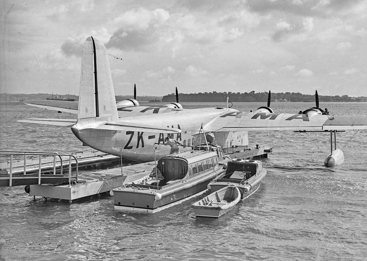 """May 1940. """"Showing Tasman Empire Airways Limited's Short S-30 Empire Class Flying Boat ZK-AMA 'Aotearoa' on the Waitemata after the first commercial flight from Sydney to Auckland in May 1940."""""""