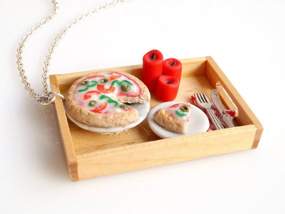 Mini Food Romantic Pizza Dinner Necklace Dollhouse by BiteMeNot