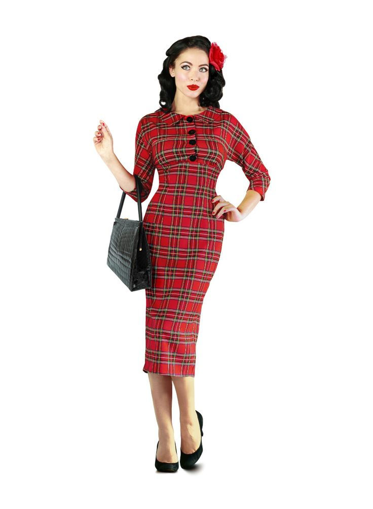 This elegant, Highland pencil dress is made from a traditional Royal Stewart Tartan. The fabric is fully woven and soft touch with a warm feel.   This dress is comfortably sized and stretchier than our Black Watch version. To ensure you choose the correct size please refer to the guide below as the measurements vary from our other styles.   The model wears a size 8 and is 5'6 tall.