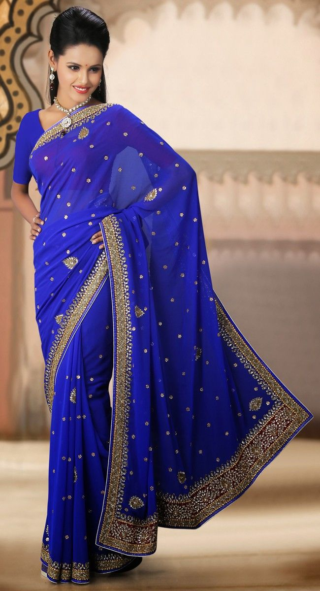 Gorgeous Royal Blue Chiffon Embroidered #Saree