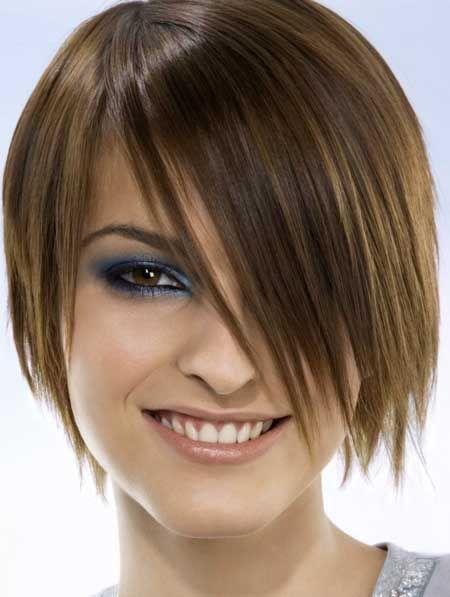 Short haircuts with long bangs