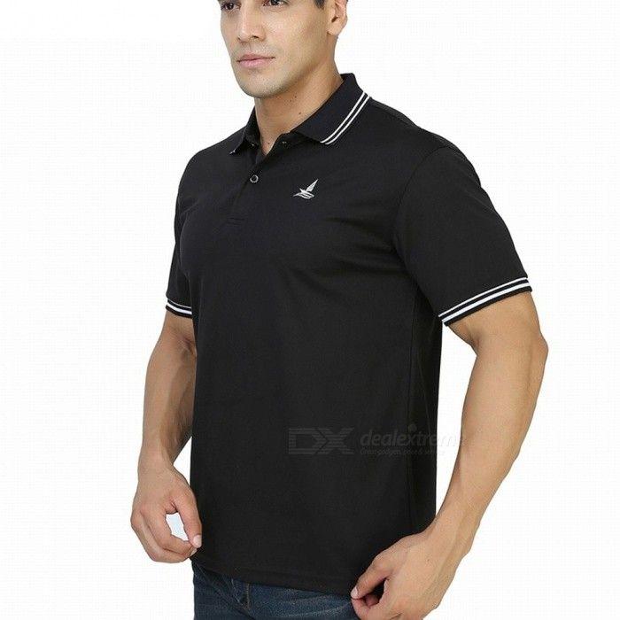 LUCKY SAILING Summer Stripe Quick Dry Men's Polo Shirt - Black (M)