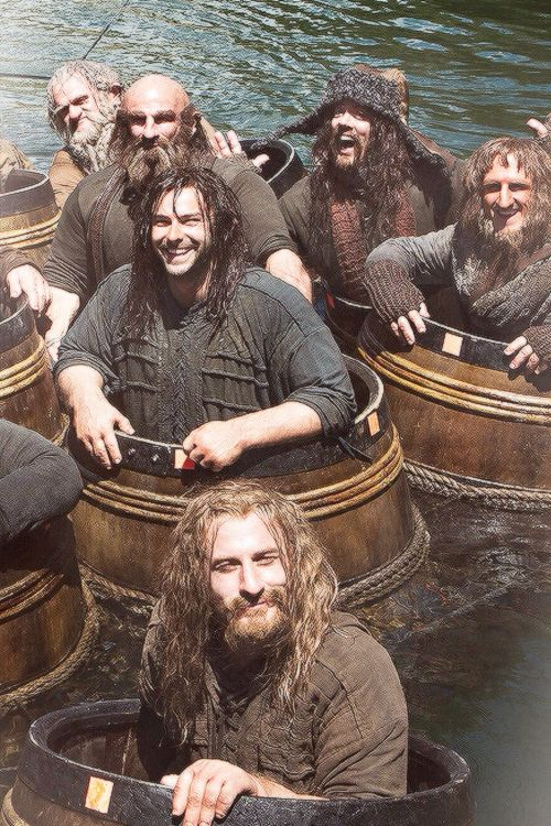 "Hobbit Cast behind the scenes of ""The Barrel Scene"". I will never get over these cuties."