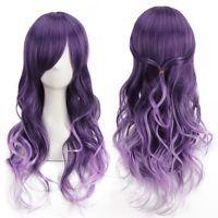 Harajuku Women Gradient Purple Curly Wavy Long Wigs Cosplay Party Full Hair AUS