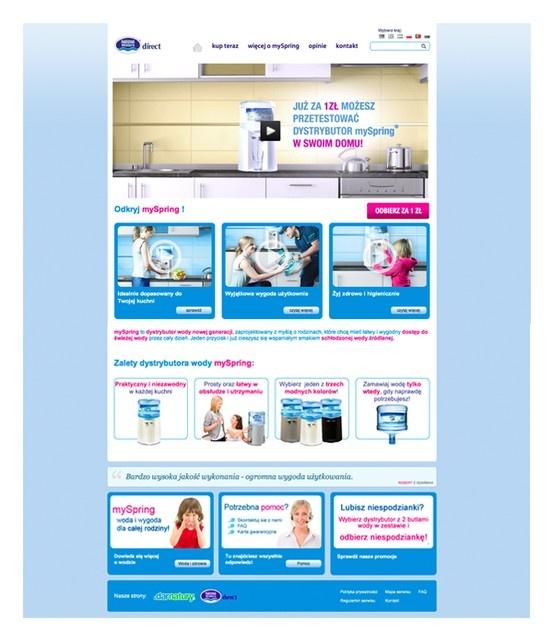 Nestle Waters - landing page kampanii promującej rozwiązanie mySpring