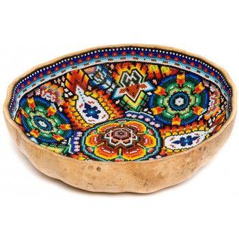 Huichol Gourd Bowl Beaded by Juan Villa | Gourd Bowl