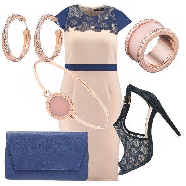 Per tutte le occasioni, gli abiti in con quel tocco di pizzo hanno un loro perché. Abito rosa con dettagli in pizzo blu, come i sandali, che richiamano i dettagli dell'abito. Gioielli scelti in completo, rosa e oro rosa, borsetta blu nelle tonalità di questo outfit.