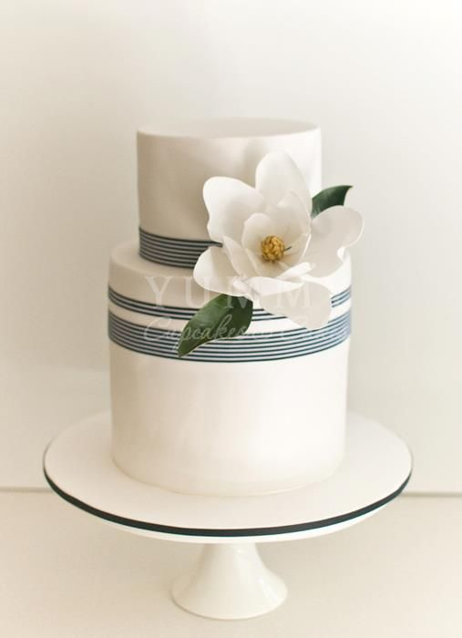 Hampton Chic Style Wedding Cake, Yummy Cupcakes  Cakes, nautical theme w/ magnolia sugar flower