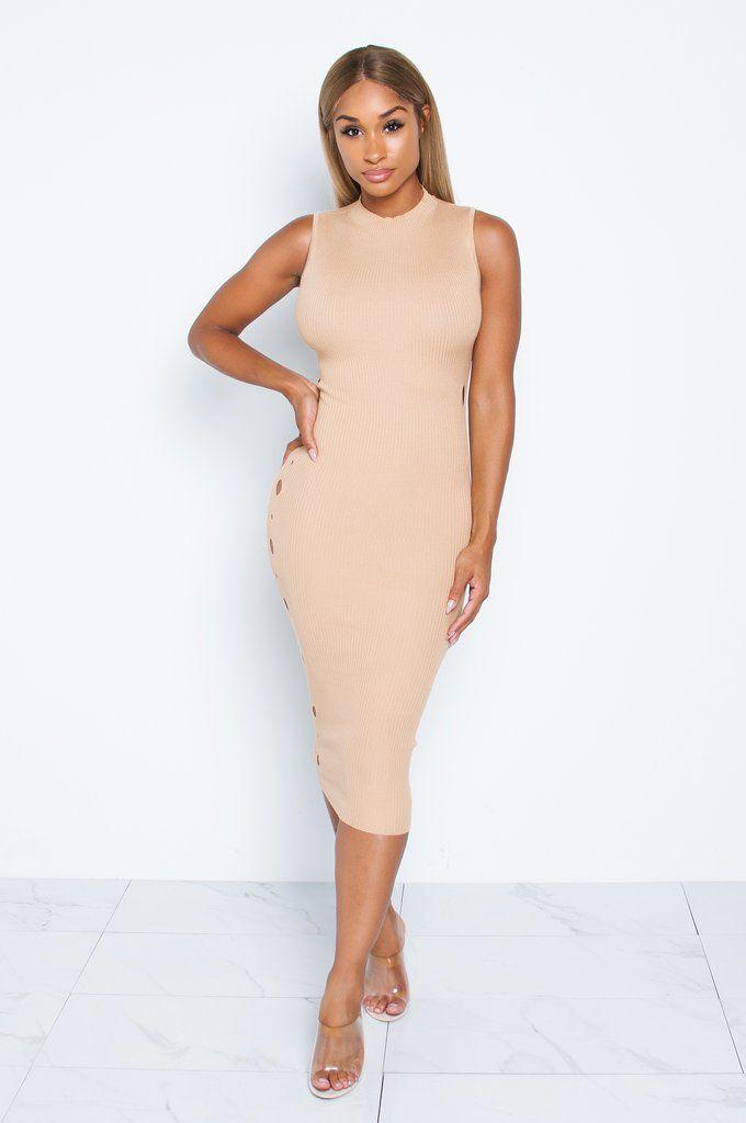 f065eb620df Tan Lulu Knit Dress