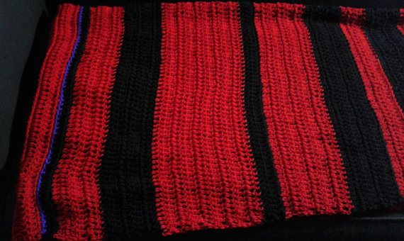 Unique Crocheted Pi Throw Blanket in Red and Black