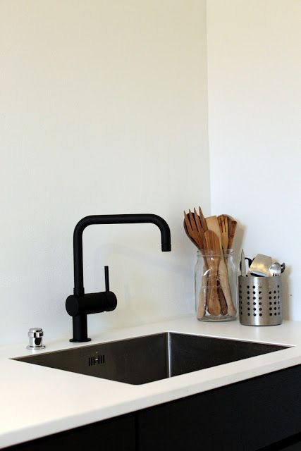 the faucet. An occasional black accessory will help to ground the space. Because I prefer light kitchens, if you are going to pick one black item you have to make it good. These will also look really sharp to tie in with with the LG black stainless steel collection #contest #lglimitlessdesign