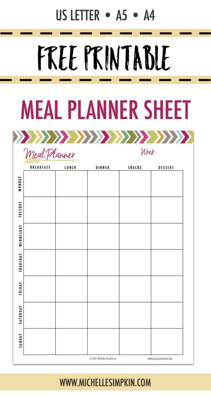 FREE PRINTABLE! Grab it without needing to give your email address :) Plan your meals each week to save you time, money, and stress! This easy to use printable will give you piece of mind. Click the photo to get yours!