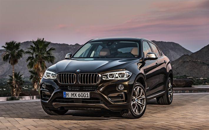 Download wallpapers BMW X6, 2018, 4k, sports SUV, luxury cars, black X6, BMW