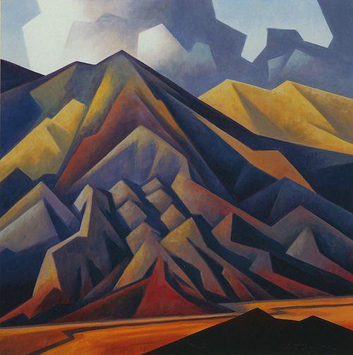 'Eroded Mountain' by Arizona-based American artist Ed Mell (b.1942). Oil, 22 x 22 in. via eye of the artist