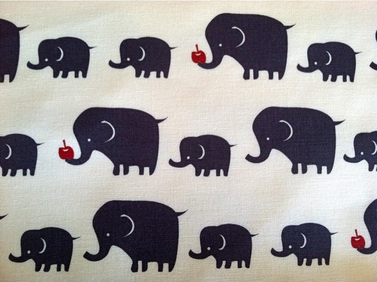 Elephant Fabric In Blue Gray Cotton Canvas Anese Import 1 Yard