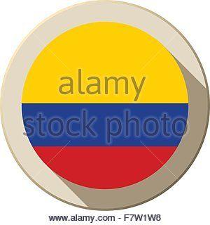 Colombia Flag Button Icon Modern - Stock Photo