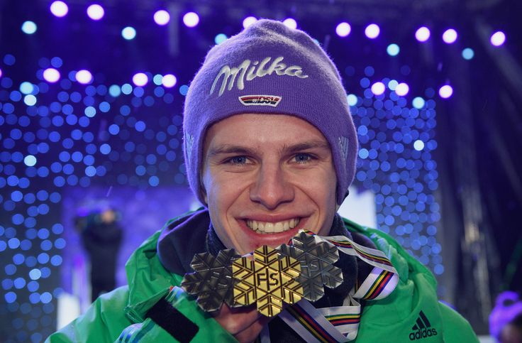 Andreas Wellinger Photos Photos - Silver medalist Andreas Wellinger of Germany celebrates with his three medals during the medal ceremony for the Men's Ski Jumping HS130 at the FIS Nordic World Ski Championships on March 3, 2017 in Lahti, Finland. - Men's Ski Jumping HS130- FIS Nordic World Ski Championships