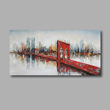 Pintada a mano Abstracto / Paisaje Pinturas de óleo,Modern Un Panel Lienzos Pintura al óleo pintada a colgar For Decoración hogareña – MXN $ 18,968.75