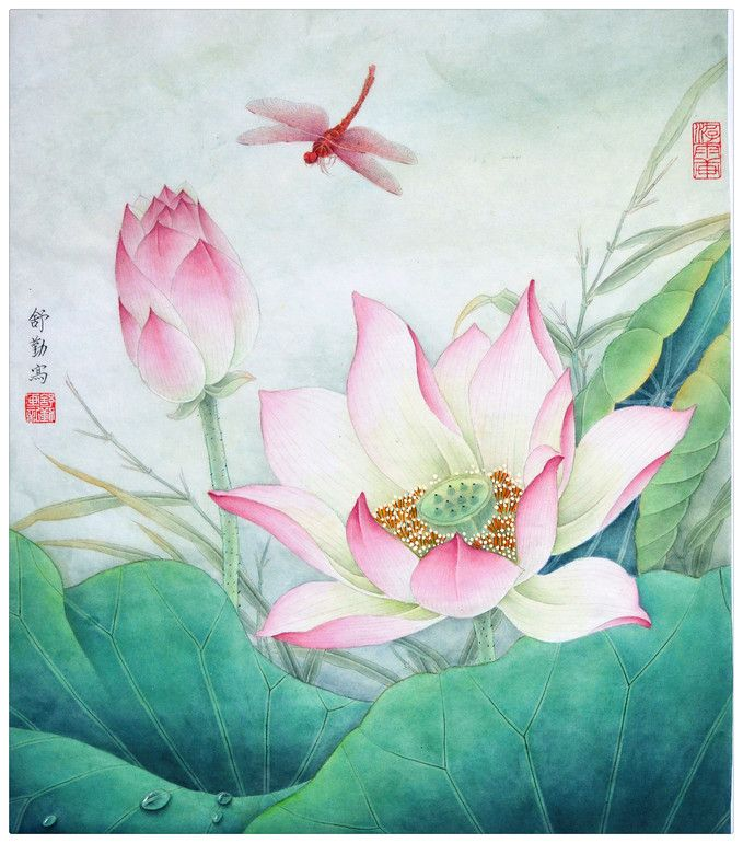 "Saatchi Online Artist: Qin Shu; Ink 2012 Painting ""Original Chinese Gongbi Painting by Qin Shu (舒勤) L-01 Lotus flower with dragon fly in the..."