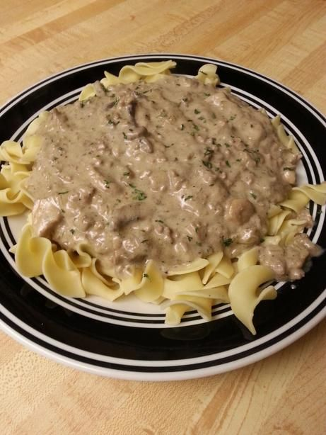 I combined this with another recipe's elements at http://www.bettycrocker.com/recipes/classic-beef-stroganoff/c17a904f-a8f6-48ae-bedb-5b301a8ea317  I included the Worcestershire sauce and Campbell's mushroom soup, and made it vegetarian by using MorningStar Veggie Crumbles instead of meat. Delish. Even my meat-eating husband loved it!