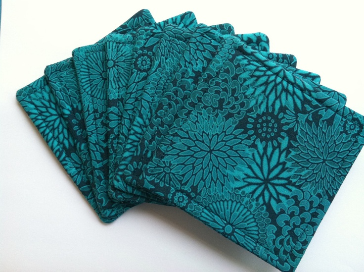 Set of 8 Reversible Fabric Coasters Teal Floral. $6.00, via Etsy.
