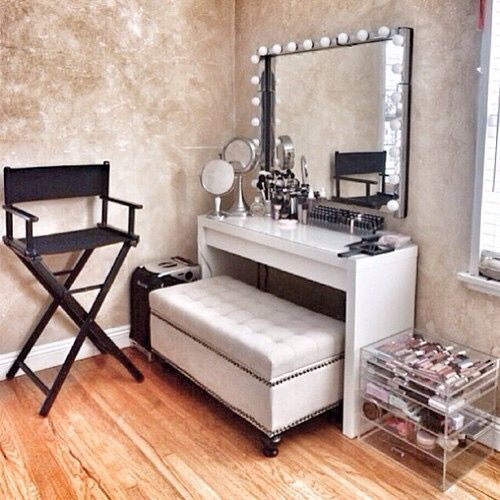Turn the ottoman into shoe storage,behind the mirror jewellery storage and drawer as make up organiser