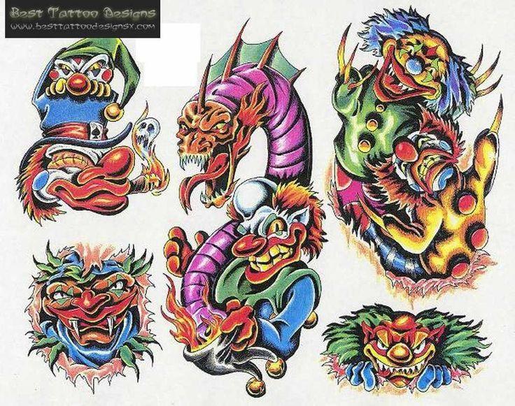 evil skull tattoo flash - Google Search   evil clowns   Pinterest
