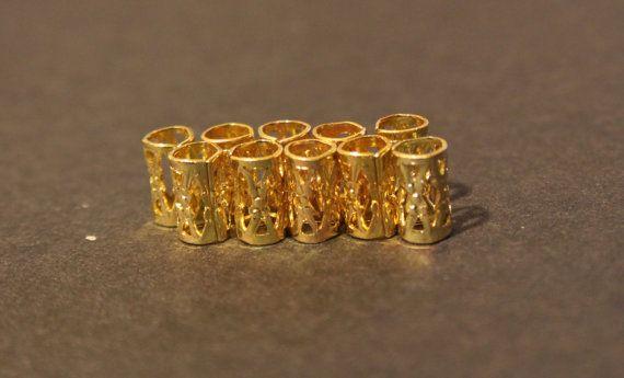 10 mini Gold DREADLOCK Beads - DREAD Hair Beads 5mm hole & FREE Tibetan Silver Bead