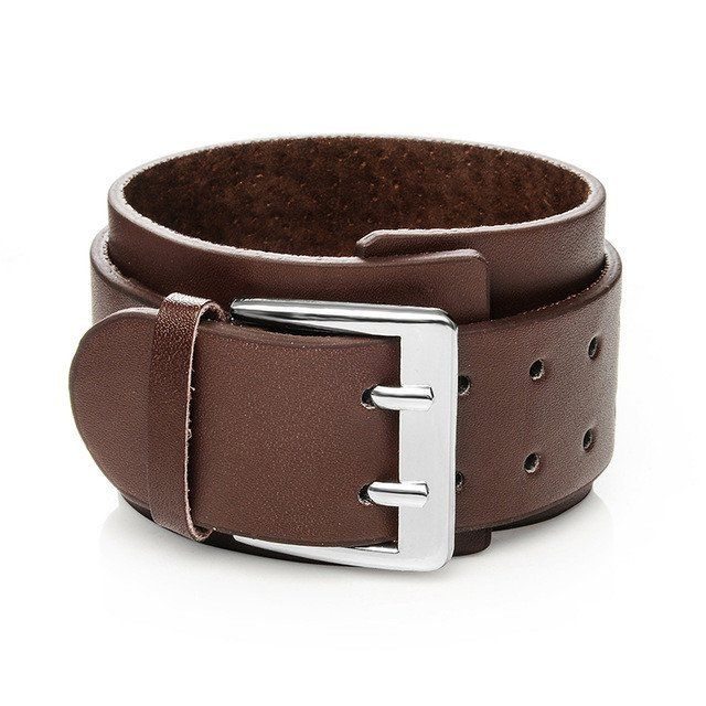 Punk Wide Leather Cuff Bracelet [Variants]