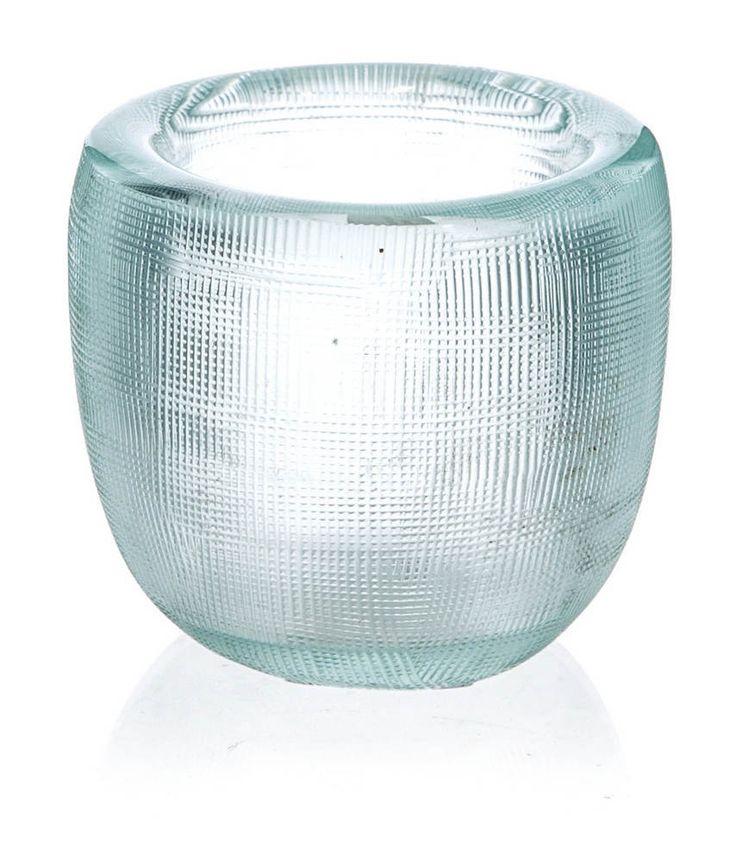 Sky Blue Glass Candle Holder - 6.5x6.5x6cm - Casa Uno