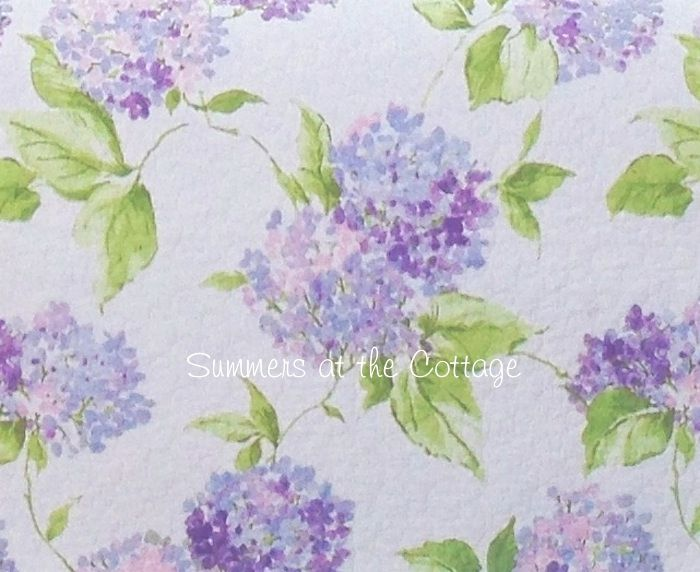 PERIWINKLE COTTAGE PINK LAVENDER HYDRANGEA FLOWERS SHABBY BEACH CHIC BEDDING - QUEEN OR KING