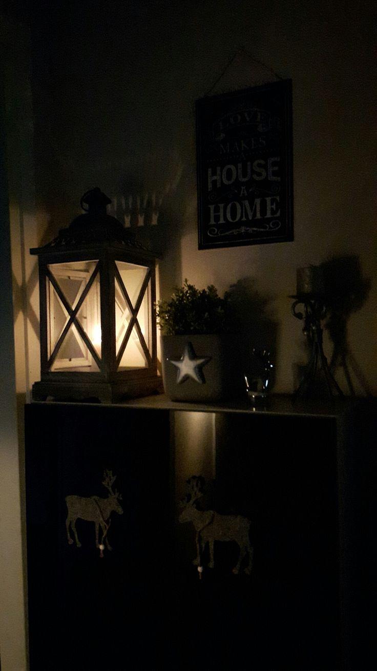 Home decor, lantern, star, reindeer