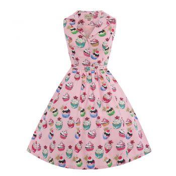 'Matilda' Pink Cupcakes Print Rockabilly Shirt Dress - from Lindy Bop UK