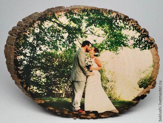 Купить Фото на дереве - подарок, свадьба 5 лет, годовщина свадьбы, подарок жене на годовщину