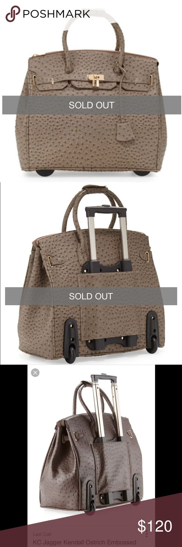 "Neiman Marcus Ostrich embossed rolling bag Ostrich embossed faux leather (polyurethane) Gold hardware. Tote handle; 5"" drop. Retractable rolling handle; 25""L. Zip top; gathered sides. Decorative front flap with belt & padlock detail. Wheels on back base, stoppers on front base. Inside, front padded compartment; one zip and two open pockets. 16 1/2""H x 19""W x 10""D; weighs 7lb, 4oz. Purchased from Last Call Neiman Marcus and currently sold out online. Used once, condition is like new. Color is…"