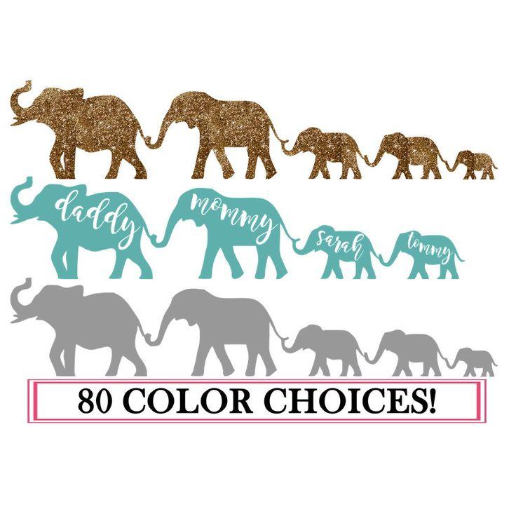 Family Car Decal, Car Decal, Custom Car Decal, Family Decal, Family Car Sticker, Elephant Decal, Stick Figure Family, Glitter Decal, Family by chessacreations on Etsy