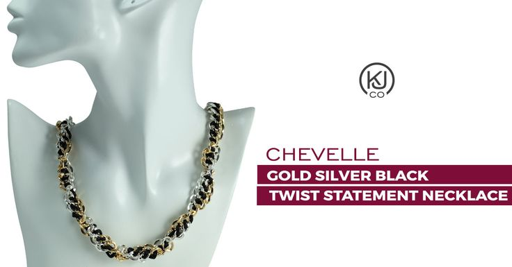 Chevelle – Gold Silver Black Twist Statement Necklace – Add a touch of bold, chic sophistication to your everyday wardrobe and indulge in the latest trend, by adding this two-tone double curb link chain with connecting black satin cord and bold toggle closure, to your at work or play style. It's the perfect accent to any outfit, day or night.