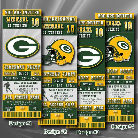 Green Bay Packers Birthday Invitation Football Ticket by DigiSport