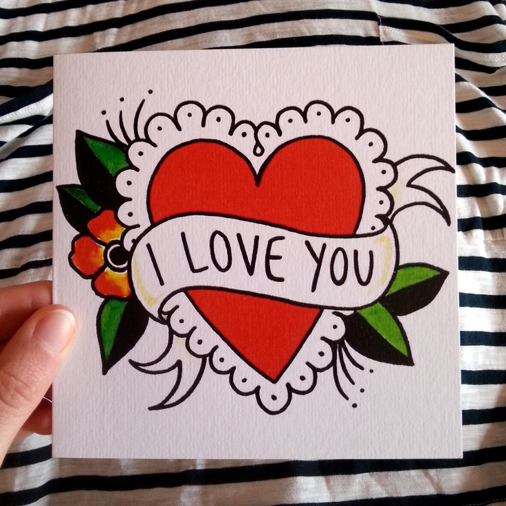 I LOVE YOU valentine's card, heart tattoo illustration #valentines #red #heart - who wants to buy me one of these? :)