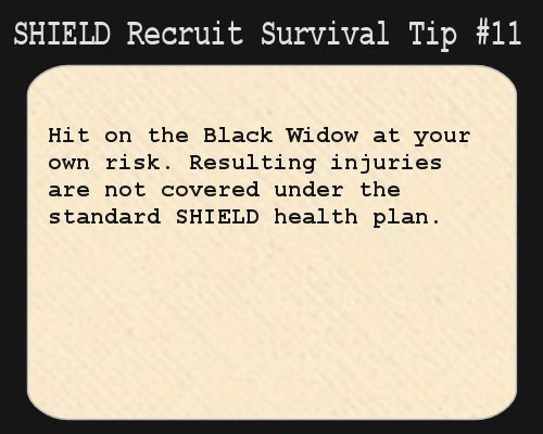 S.H.I.E.L.D. Recruit Survival Tip #11: Hit on the Black Widow at your own risk.  Resulting injuries are not covered under the standard S.H.I...