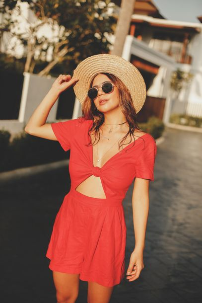 04b779425ec6  35 ASOS Cute Red Orange Short Sleeved Romper Playsuit One Piece With  Middle Cut Out Detail Retro Round Ray-Ban Sunglasses And Beige Woven Sun Hat  Tumblr